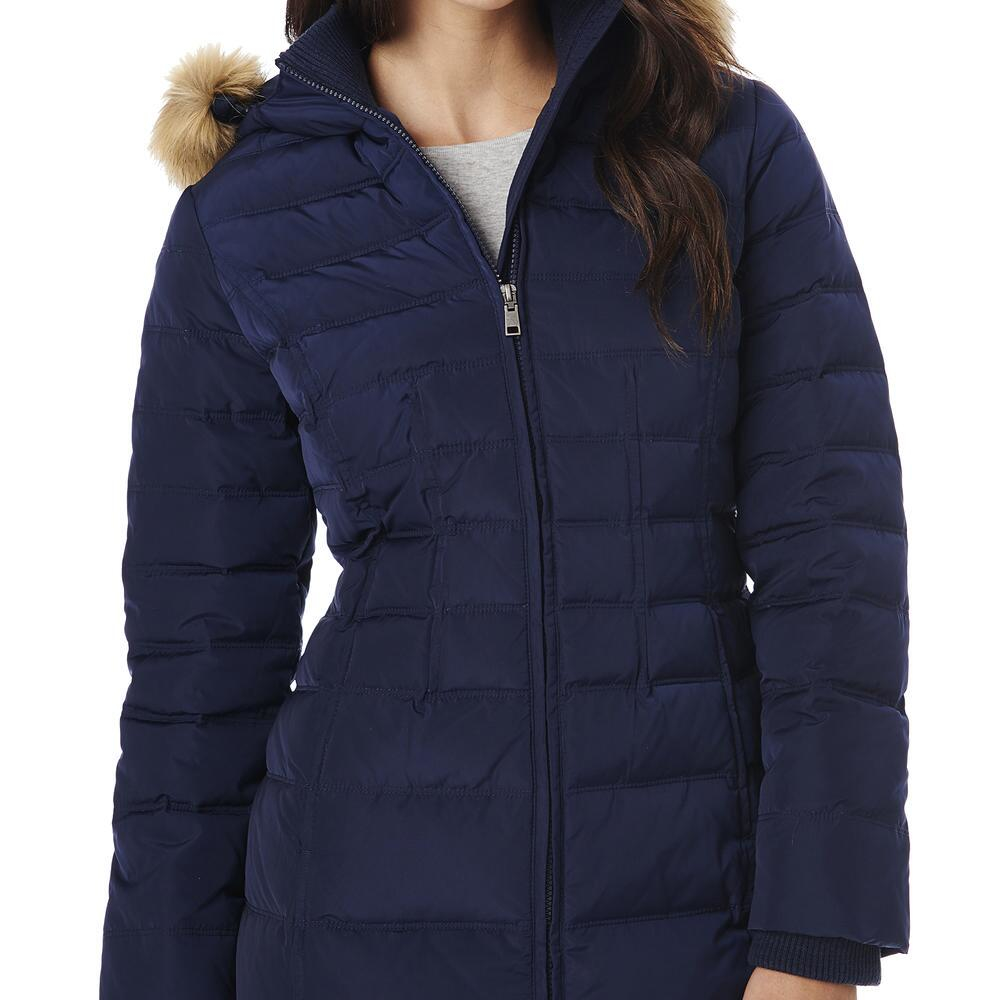 Lyst G H Bass Amp Co Puffer Coat With Faux Fur Hood In Blue