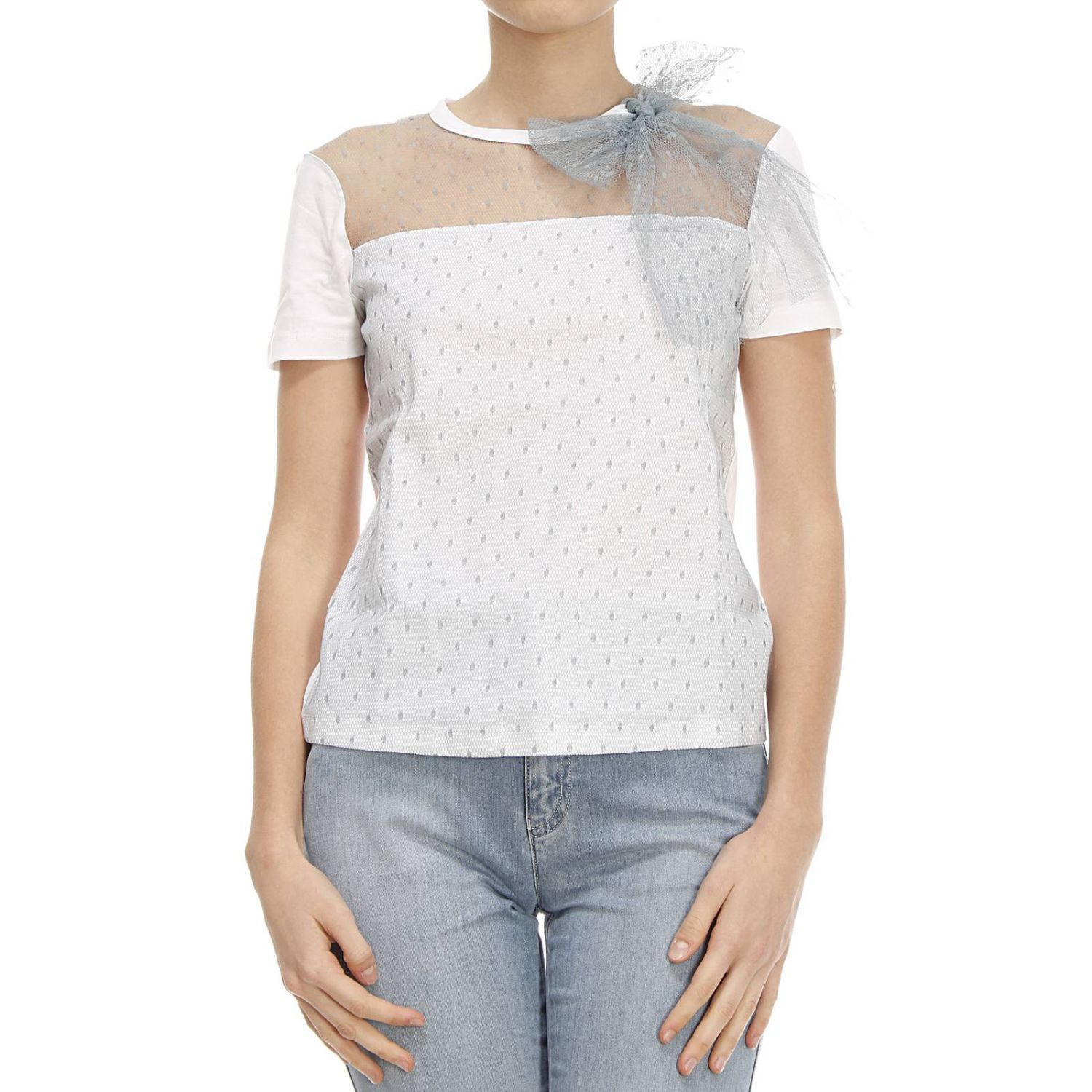 Red valentino t shirt in white sky lyst for Red valentino t shirt