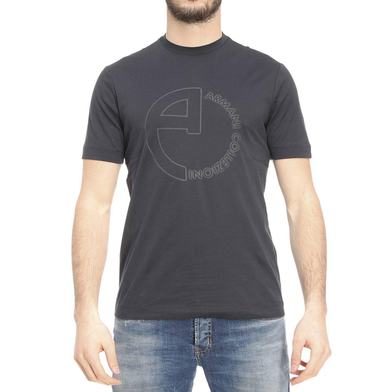 Armani t shirt in black for men blue lyst for Black armani t shirt