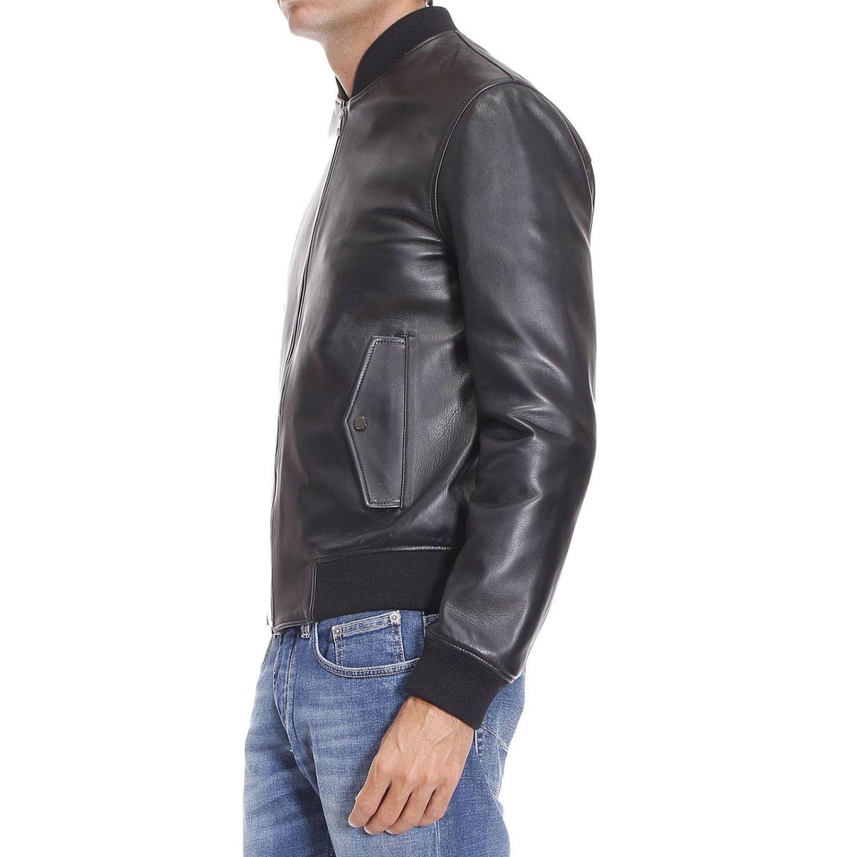 versace down jacket man in black for men lyst