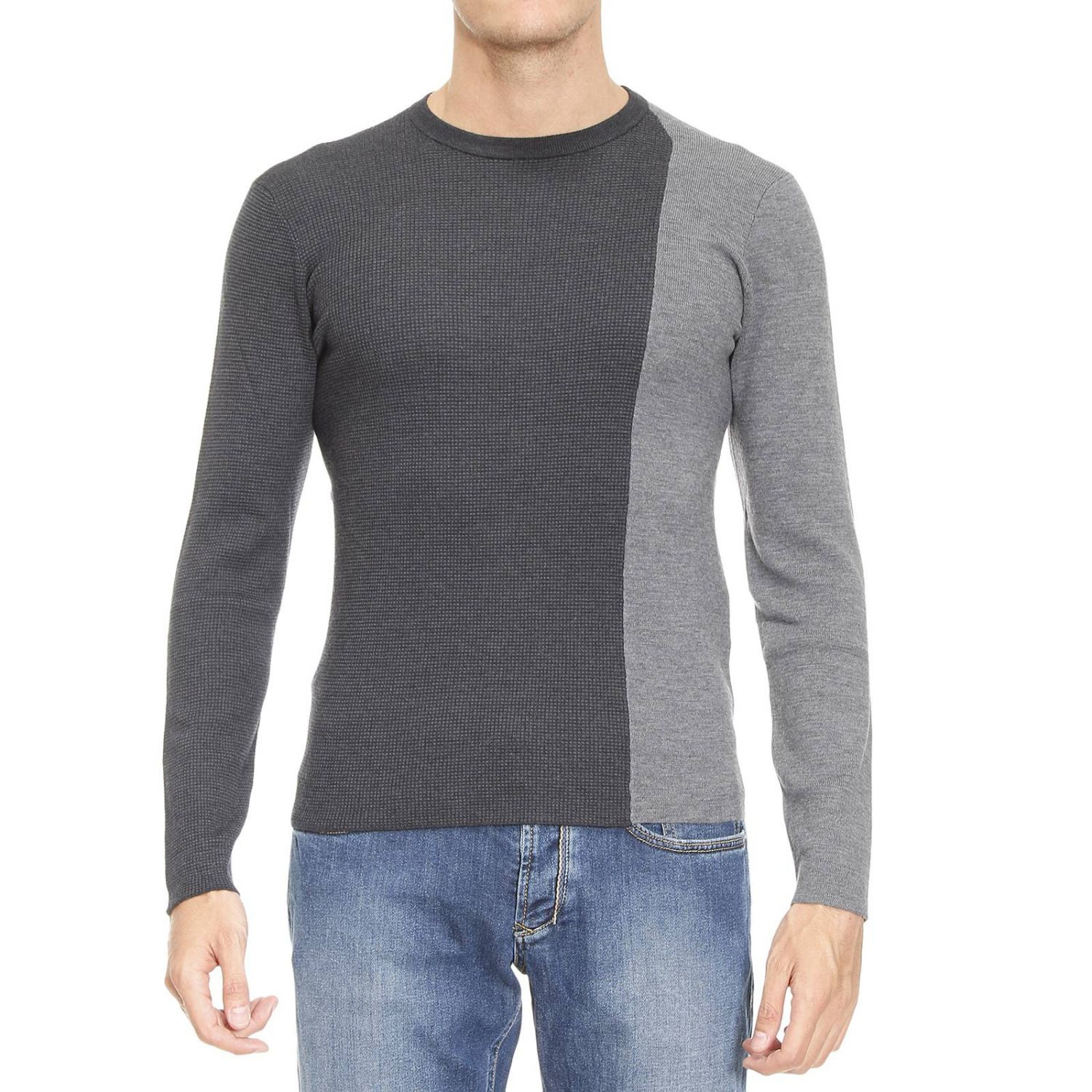 emporio armani sweater man in gray for men lyst. Black Bedroom Furniture Sets. Home Design Ideas