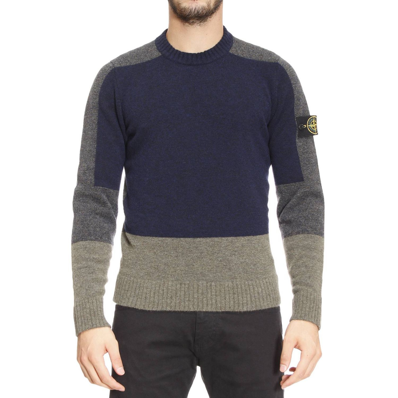 lyst stone island sweater man in blue for men. Black Bedroom Furniture Sets. Home Design Ideas