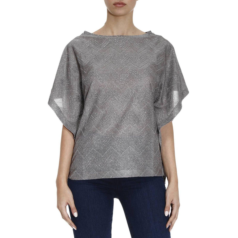 Lyst m missoni top women in metallic for Silver metallic shirt women s