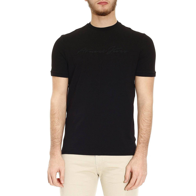 Armani jeans t shirt men in black for men lyst for Black armani t shirt