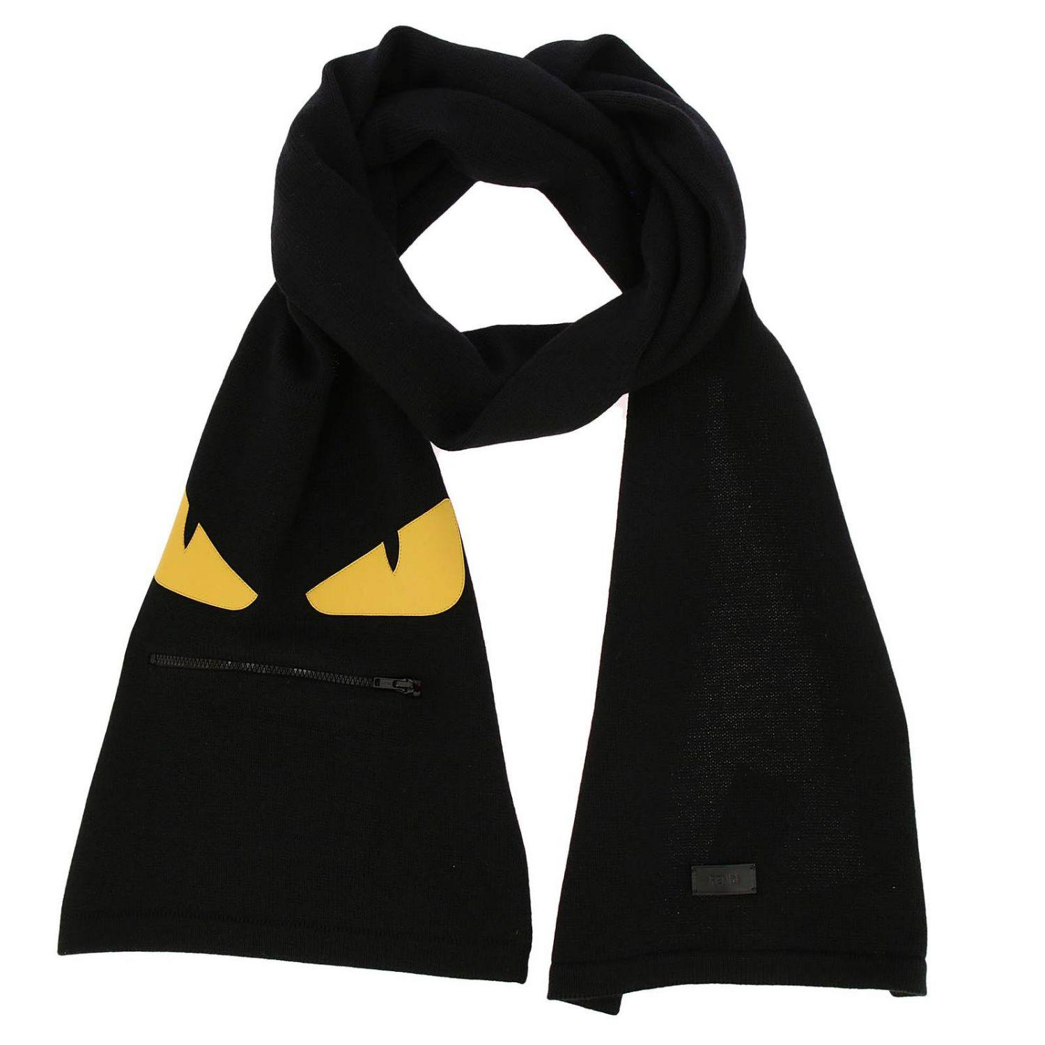 f9146e6179a Fendi - Black Monster Eyes Scarf In Pure Virgin Wool With Maxi Zip Pocket  And Eyes. View fullscreen