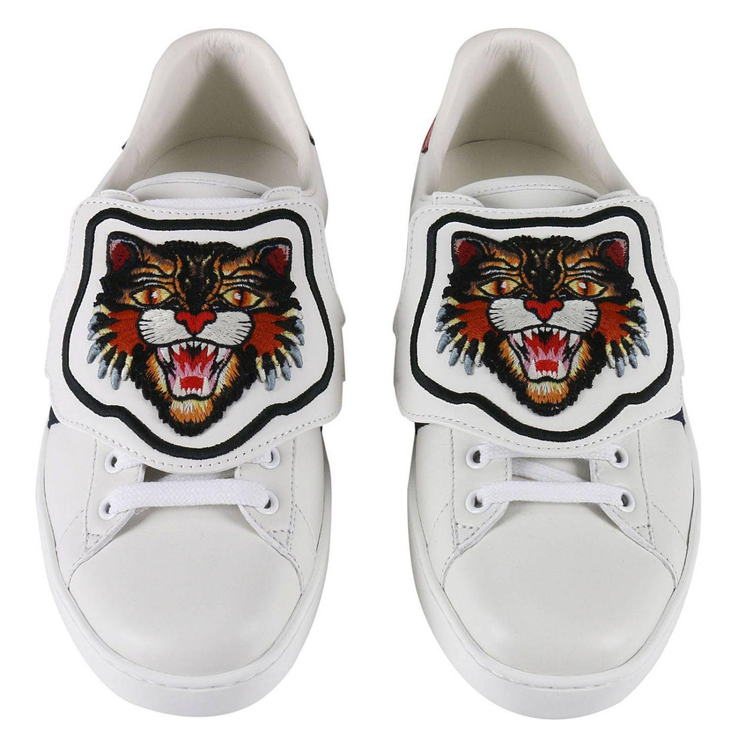 dfbfbf7ac72 Lyst - Gucci Ace Sneakers With Embroidered Angry Cat Removable ...