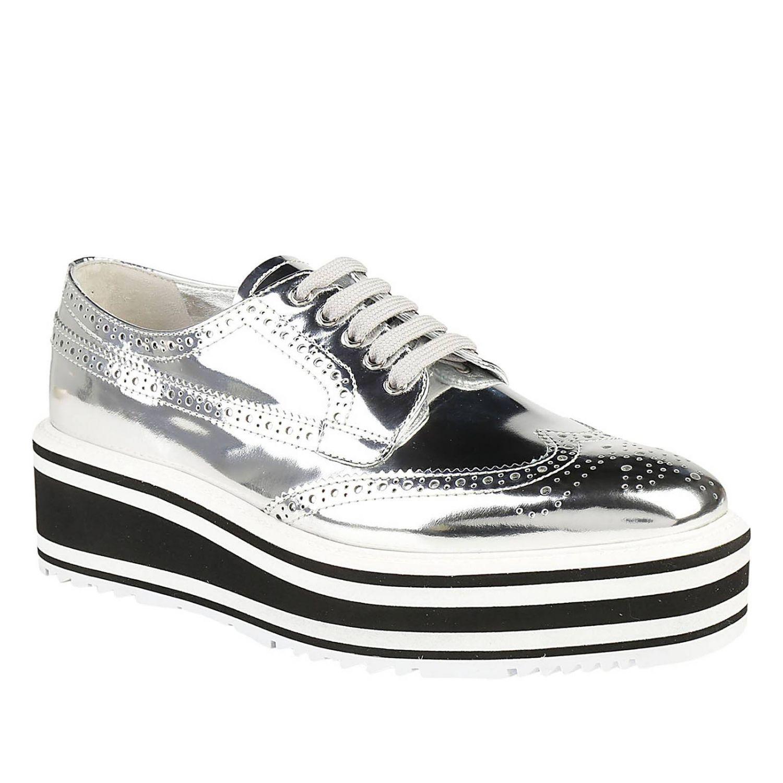 4266db2eee Lyst - Prada Oxford Shoes Shoes Women in Metallic