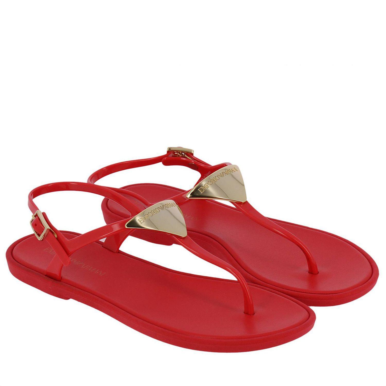 Mujer Sandalias Emporio Color De Planas Lyst Rojo Armani 5R4A3Lj