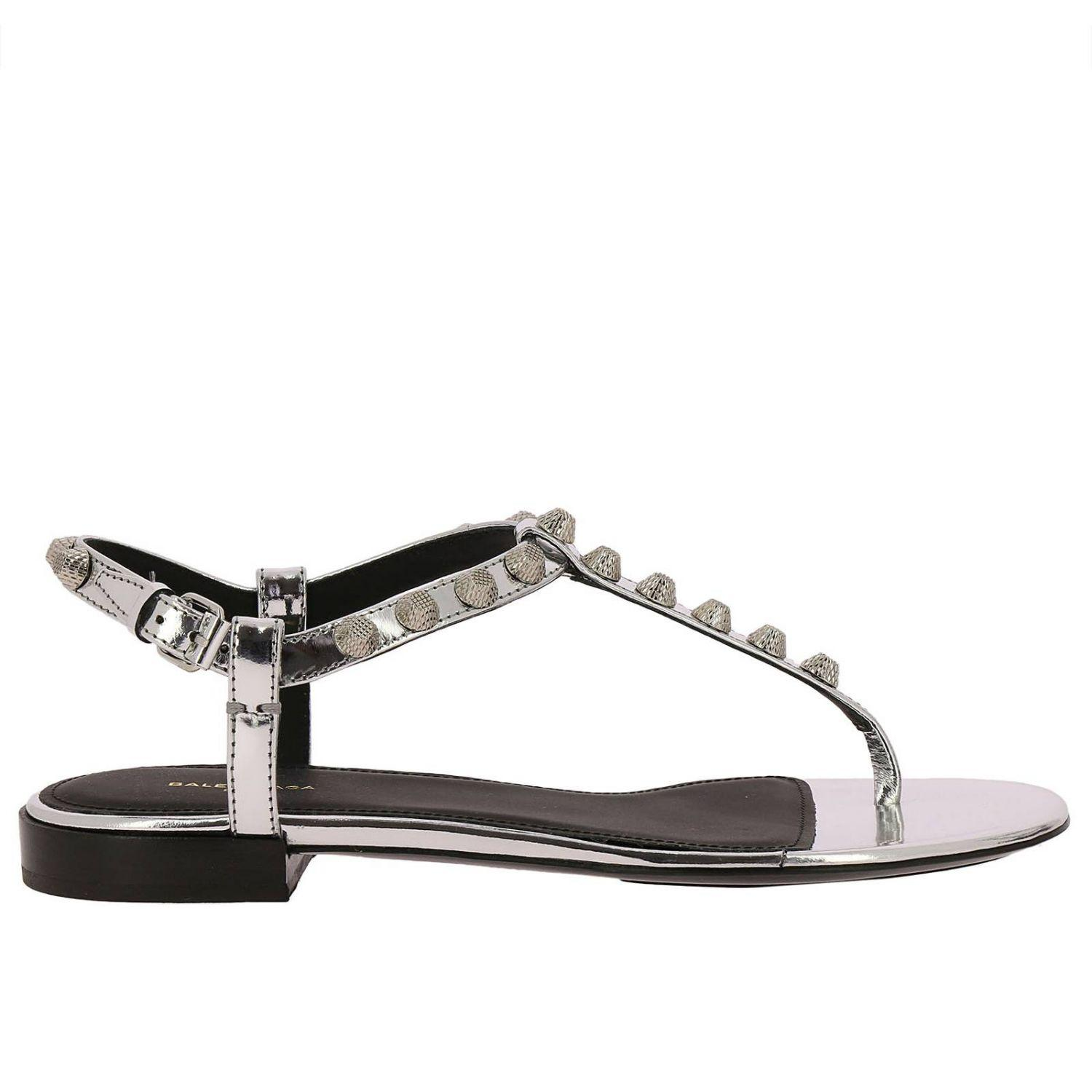 f74181b656dc Lyst - Balenciaga Flat Sandals Shoes Women in Metallic