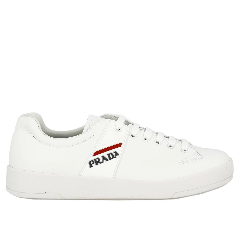 765d8f9a5663 Prada - White Baskets Chaussures Homme for Men - Lyst. Afficher en plein  écran