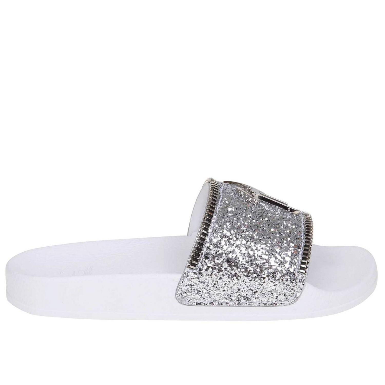 7adcefdea Giuseppe Zanotti Glitter Logo Slides in Metallic - Save 6% - Lyst