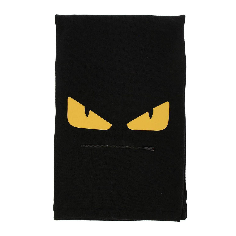 93995520523 Fendi Monster Eyes Scarf In Pure Virgin Wool With Maxi Zip Pocket ...