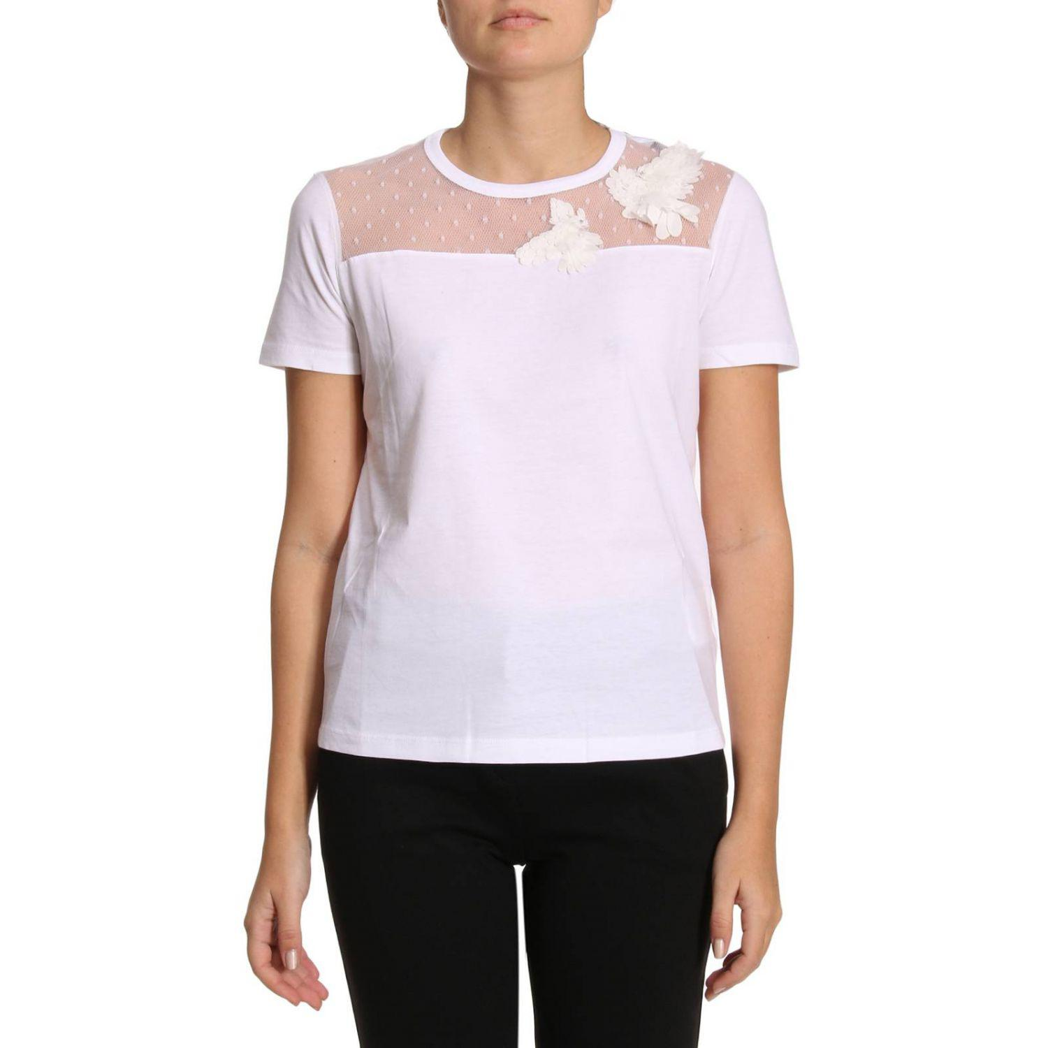 Lyst red valentino t shirt women in white for Red valentino t shirt