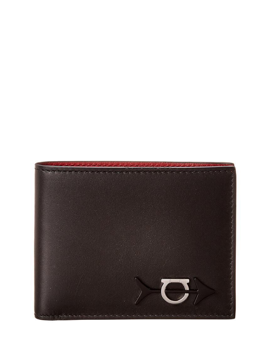 Lyst - Ferragamo Gancini Leather Bifold Wallet in Black for Men ... 147887557ebd