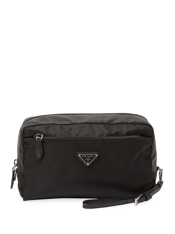 eb0c3fed67 Prada Fabric Cosmetic Pouch in Black - Lyst