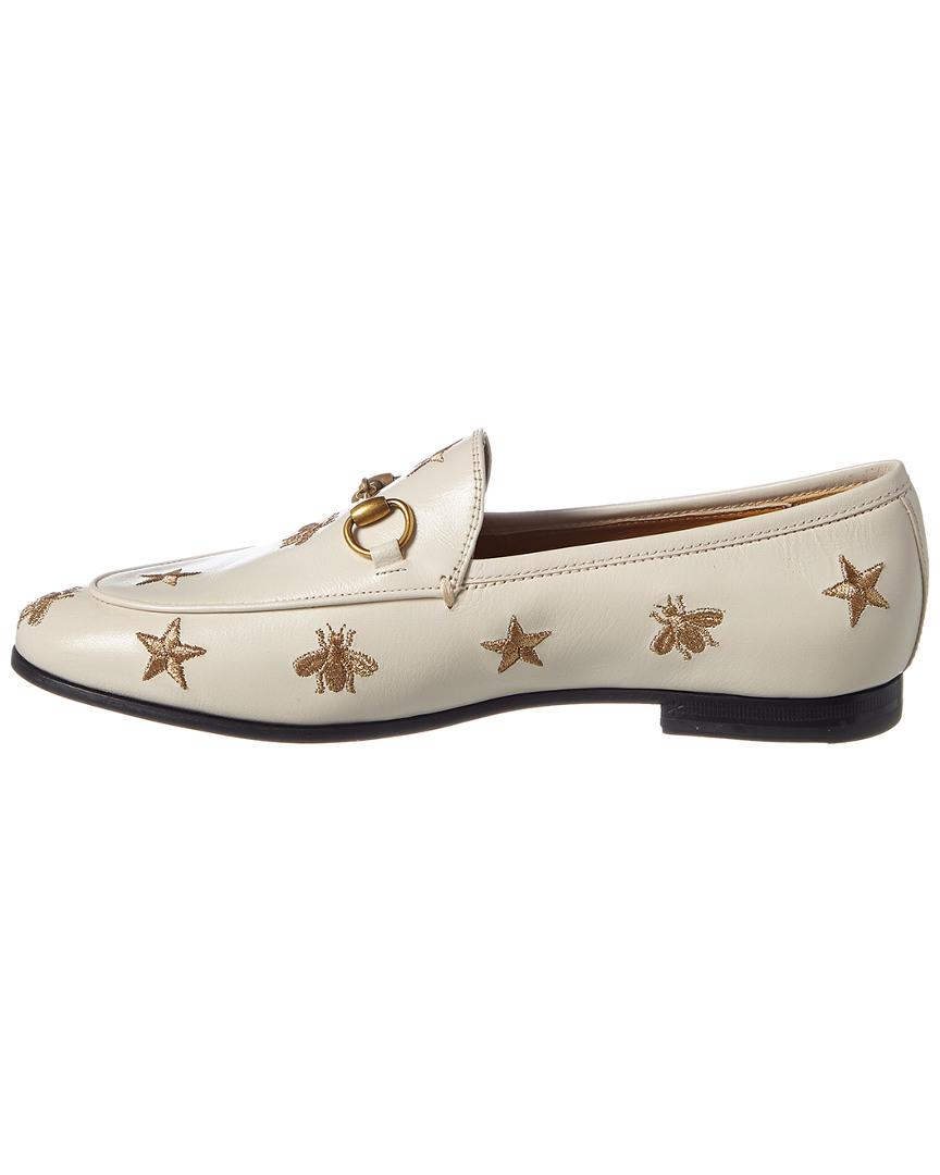 b3117c8d271 Lyst - Gucci Jordaan Bees   Stars Embroidered Leather Loafer in White -  Save 12%