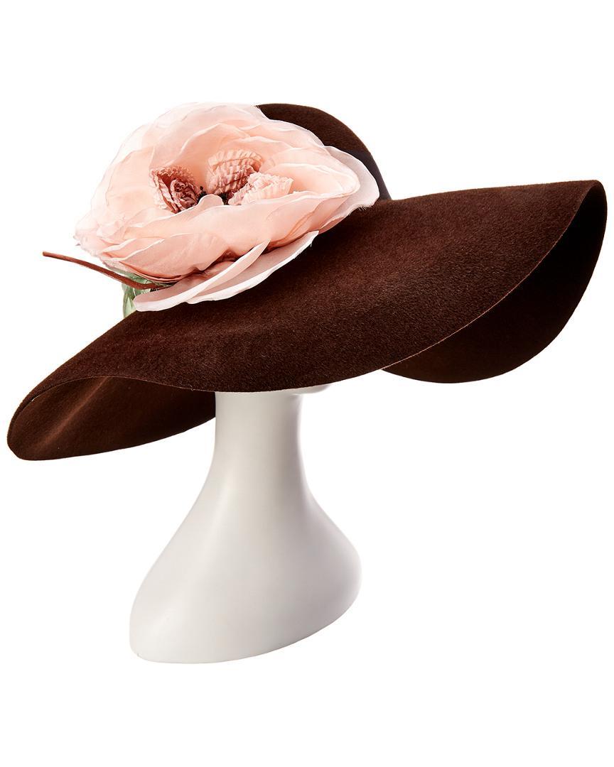 4bc96f2ed1f3b Lyst - Gucci Wide Brim Hat With Silk Flowers in Brown