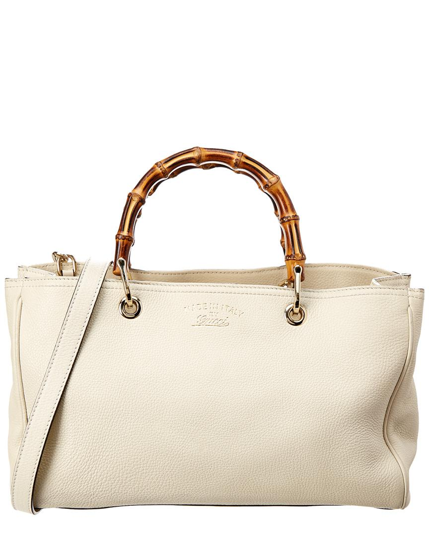 b55b737f6fe Lyst Gucci Cream Leather Bamboo Per Tote In Natural. Arli Small Shoulder Bag