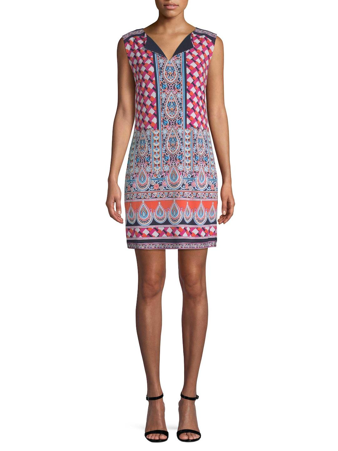 eb6a31d4401 Lyst - Laundry by Shelli Segal Printed Jersey Shift Dress