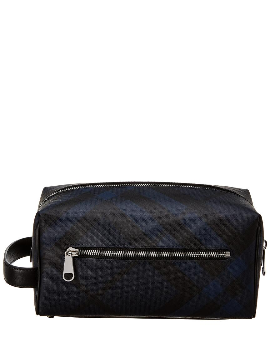 9af4acac0a73 Burberry Check Leather-trim Pouch in Blue for Men - Lyst