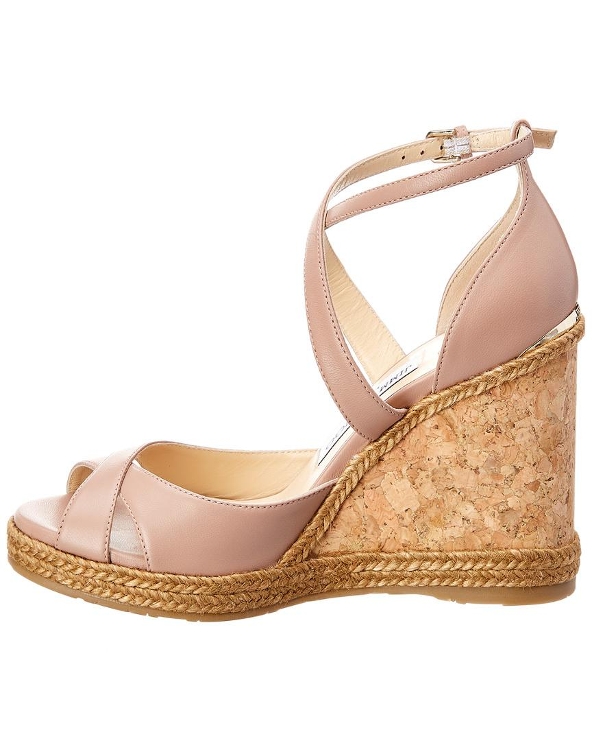374dccbe30f Lyst - Jimmy Choo Alanah 105 Leather Wedge Sandal in Pink