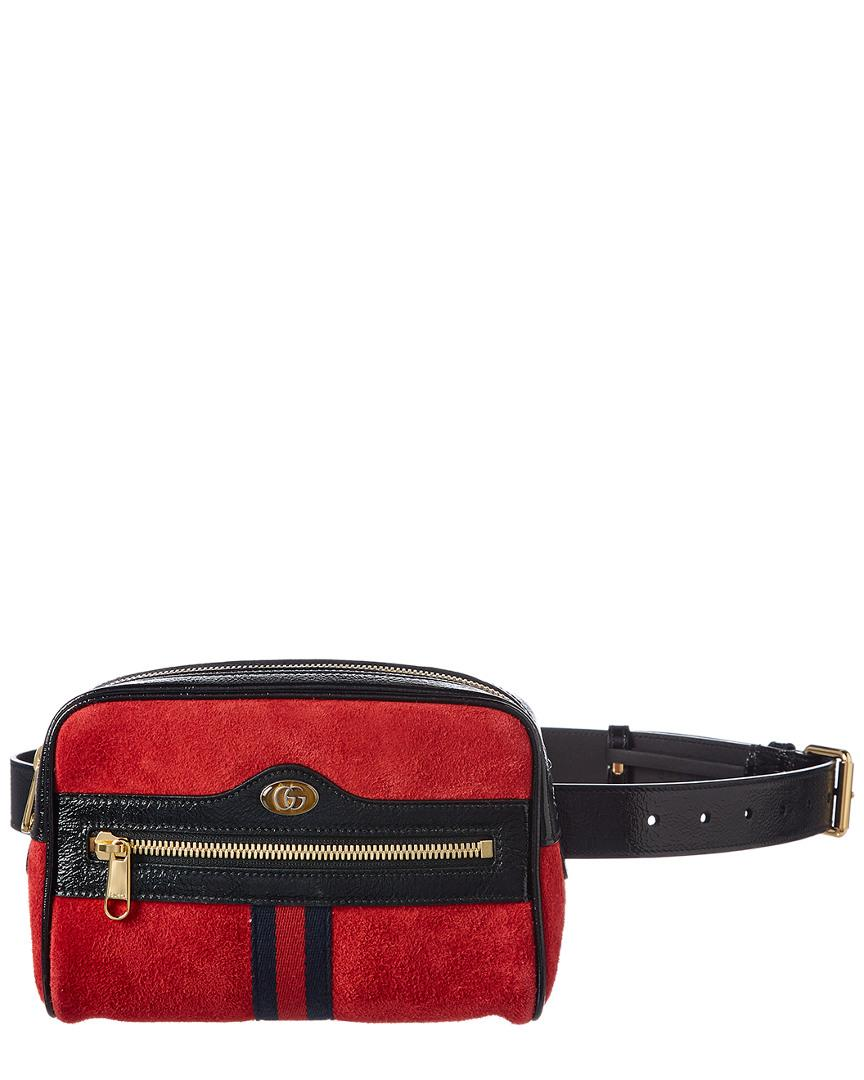 d90213fdfea2 Lyst - Gucci Ophidia Small Suede & Leather Belt Bag in Red - Save 14%