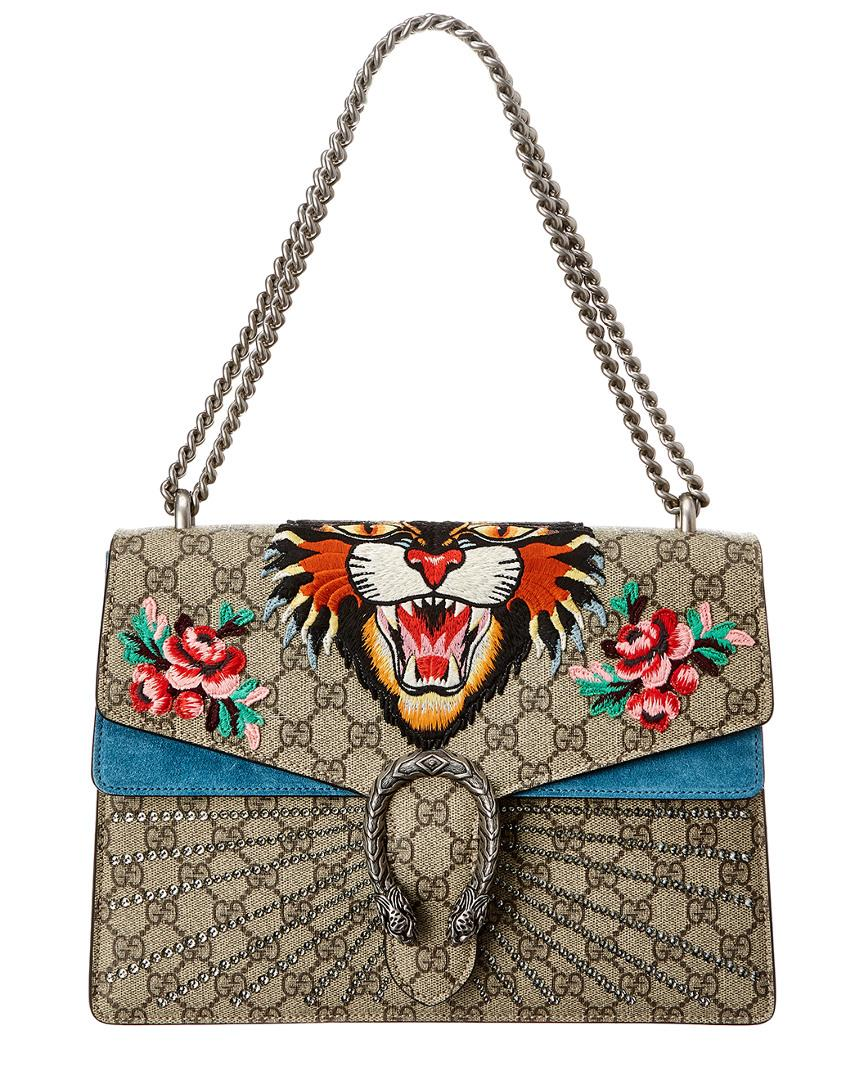 45027b5ad Gucci. Women's Dionysus Tiger Embroidered GG Supreme Canvas & Suede  Shoulder Bag