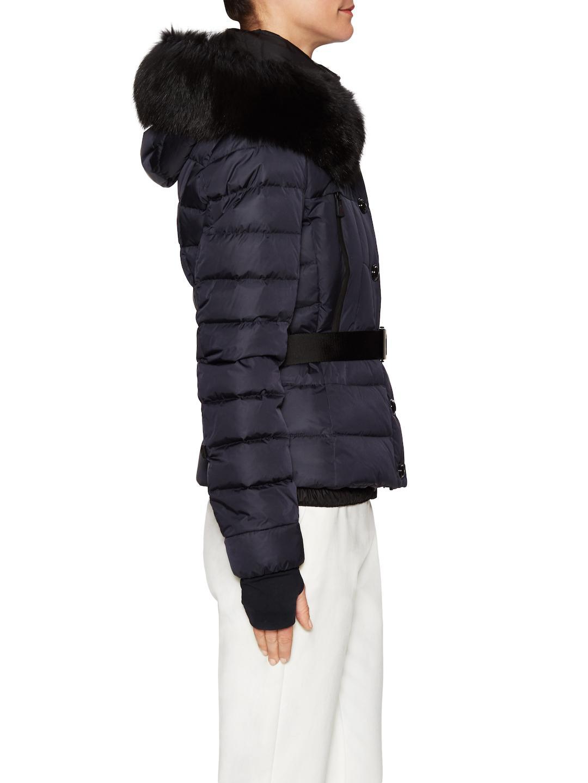 54d60718d Lyst - Moncler Beverley Fox Fur-trimmed Belted Jacket in Blue