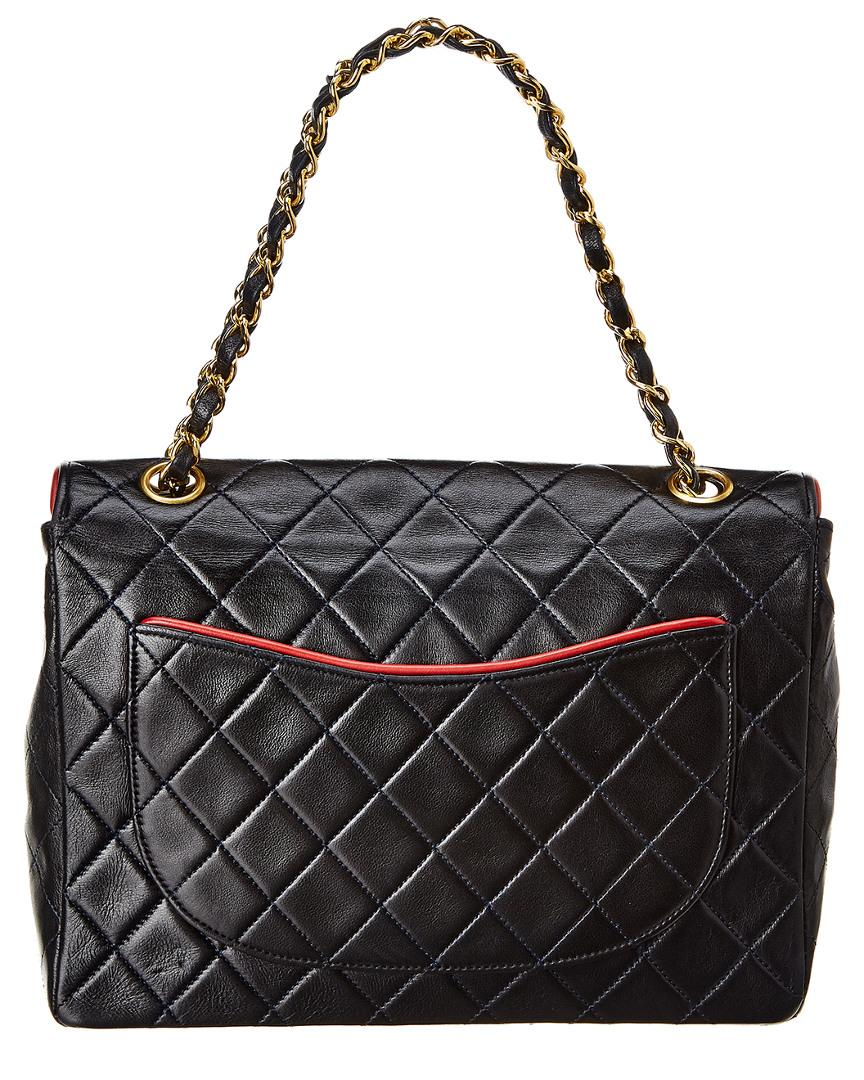 d9237dad2244 Lyst - Chanel Black Quilted Lambskin Leather Piped Half Single Flap Bag in  Black