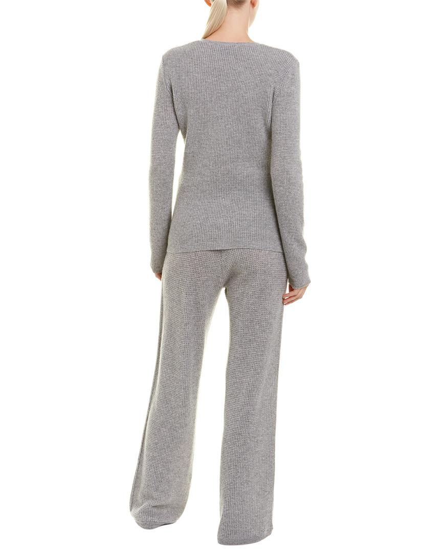 5147b0f3e43f Lyst - Sofia Cashmere Sofiacashmere 2pc Thermal Lounge Cashmere Pajama Set  in Gray
