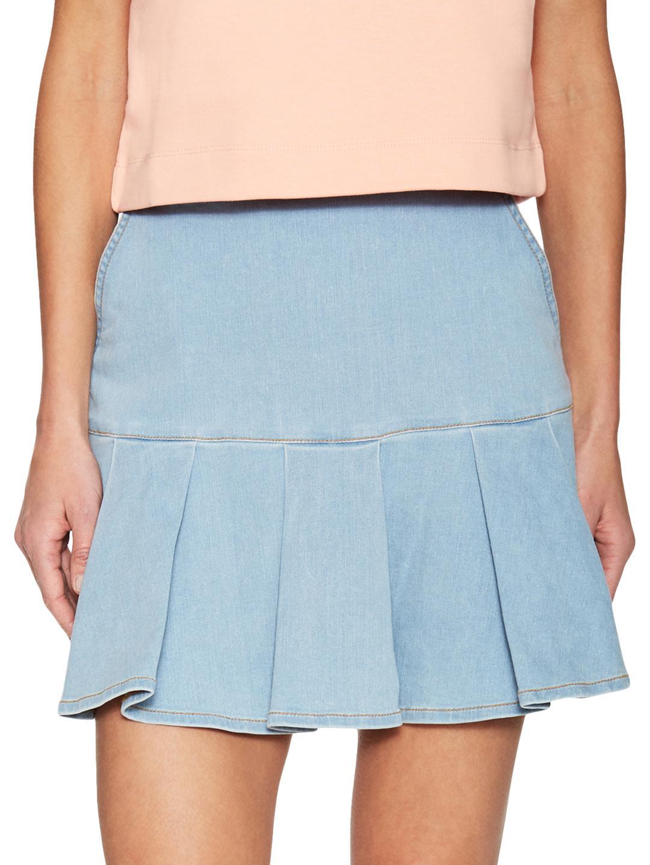 6919356a939 Lyst - Love Moschino Pleated Denim Mini Skirt in Blue