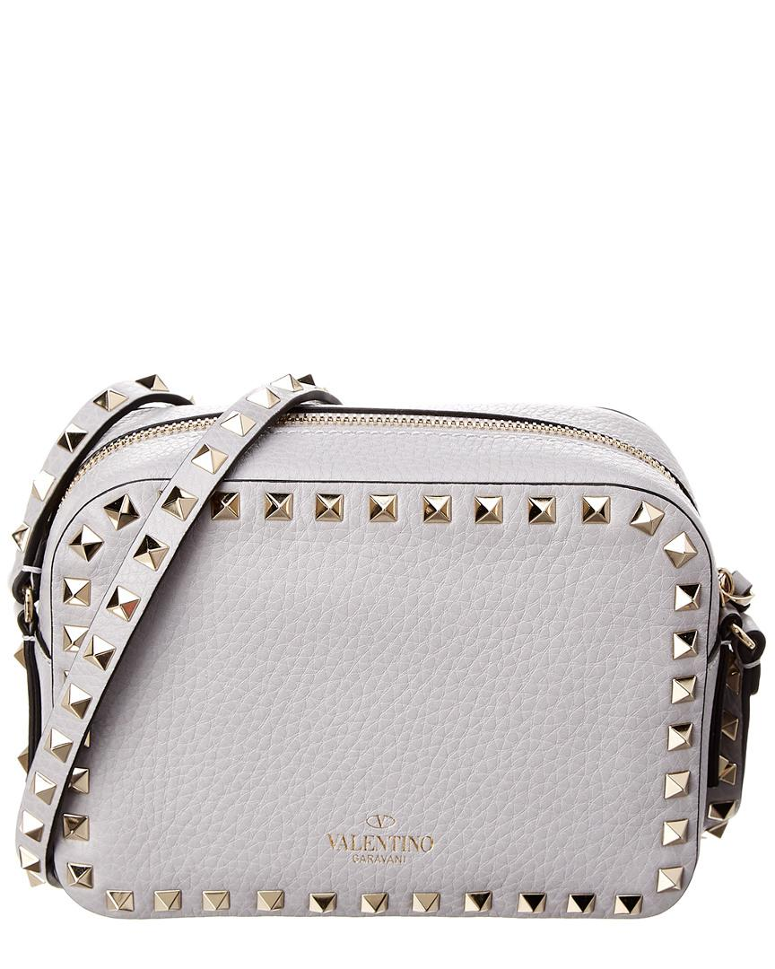 25573007eb98 Lyst - Valentino Rockstud Leather Camera Bag in Gray