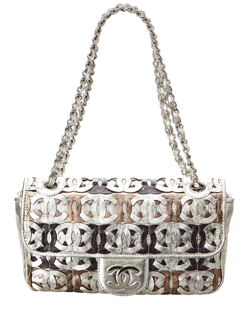 311d93d20c30 Chanel Silver Metallic Leather Cc Cutout Jumbo Flap Bag in Metallic ...