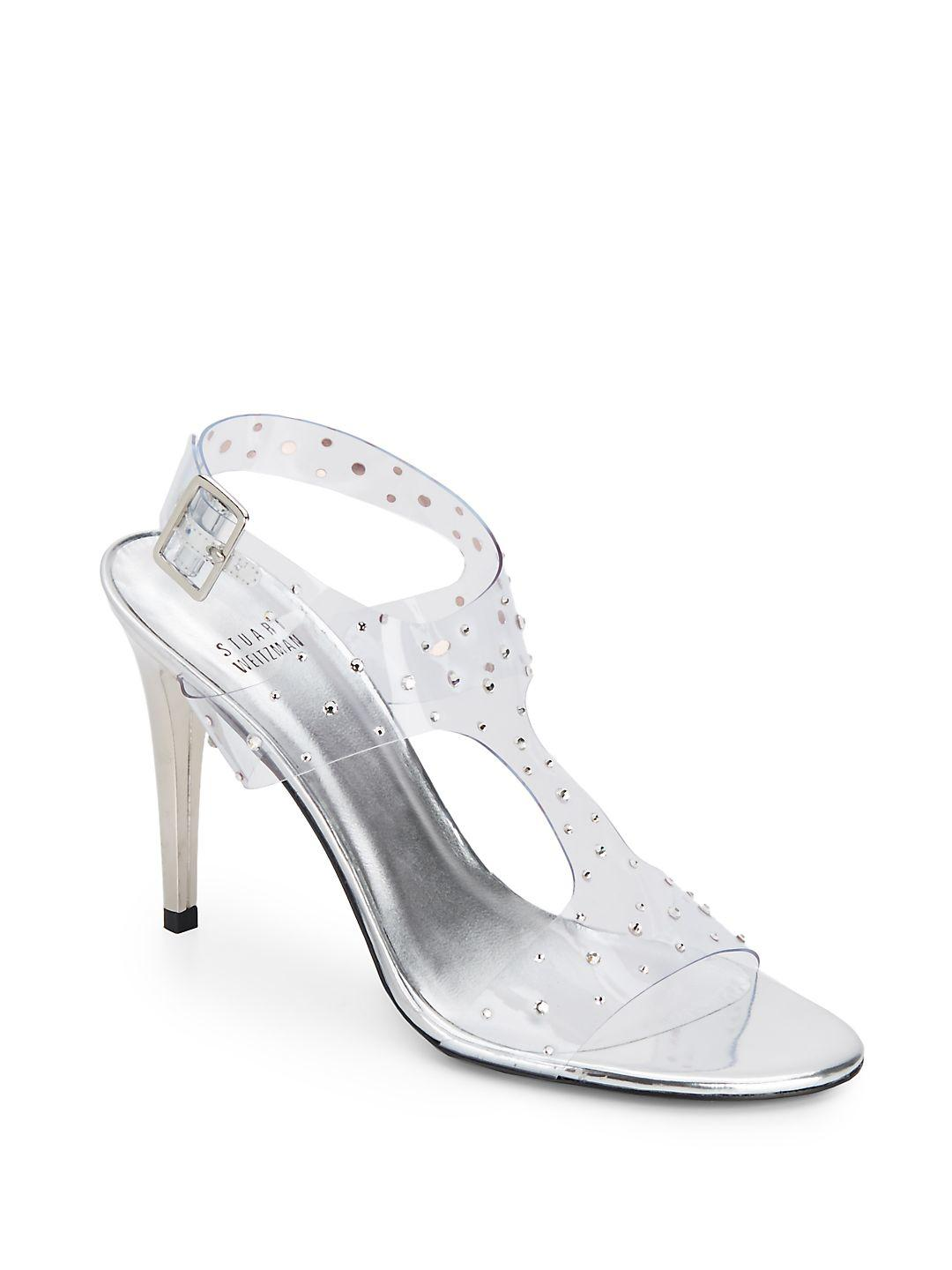76ba38b132d Lyst - Stuart Weitzman Looking Good Rhinestone-embellished Clear ...