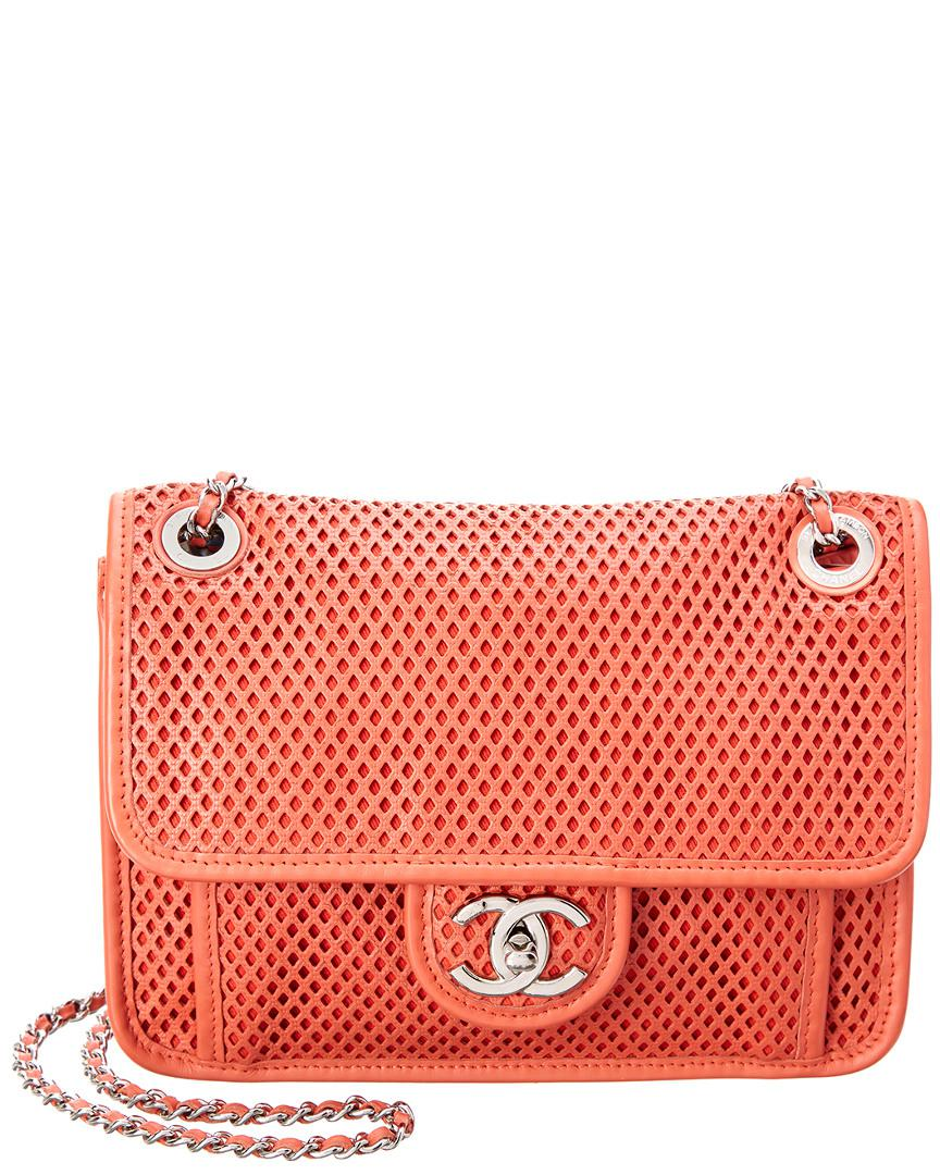278b9ec0a096 Chanel Limited Edition Red Perforated Leather Medium French Riviera ...