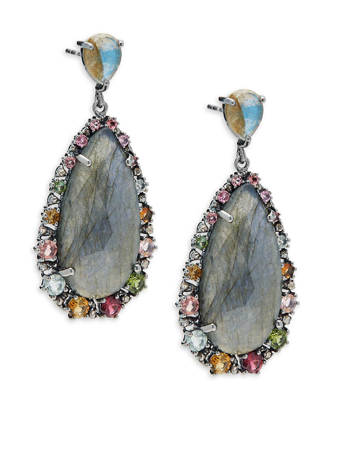Bavna Labradorite Teardrop Earrings w/ Tourmaline 1vfFg