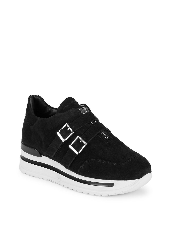 John Galliano. Women's Black Double Buckle Leather Sneakers