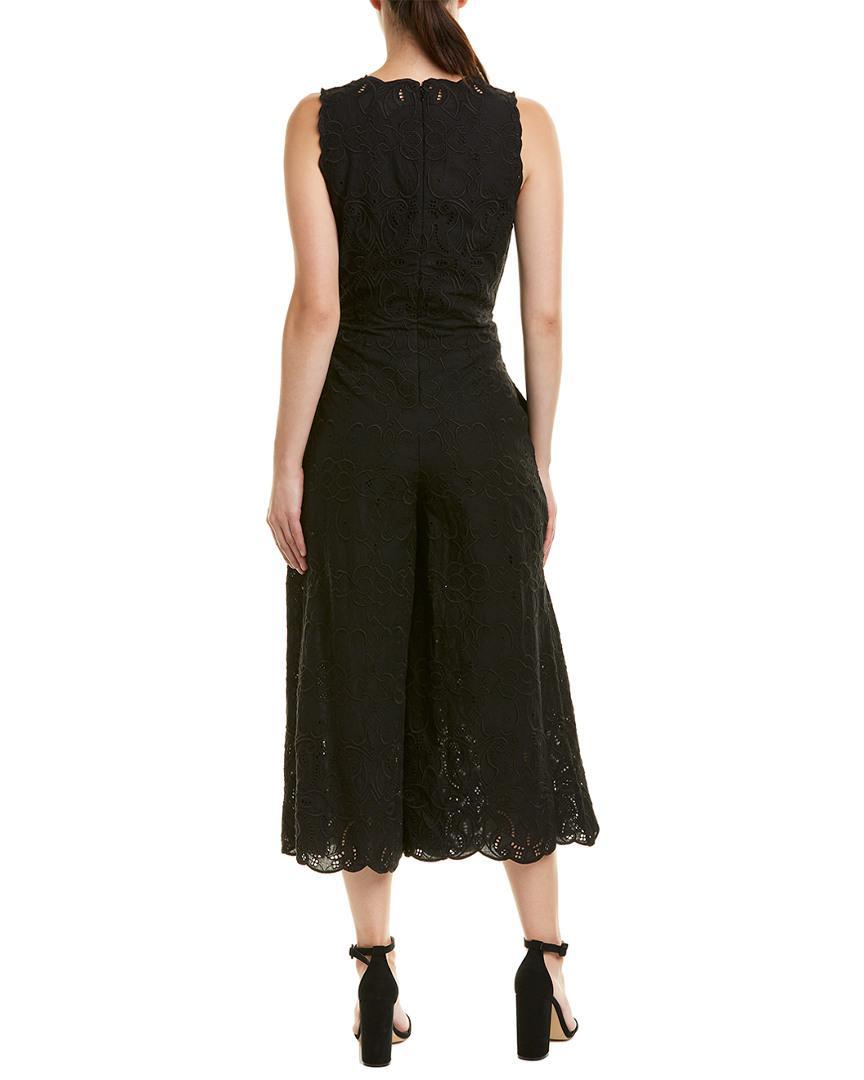 6b3f59c3c358 Lyst - Jonathan Simkhai V-neck Sleeveless Scallop Lace Wide-leg Jumpsuit in  Black - Save 51%