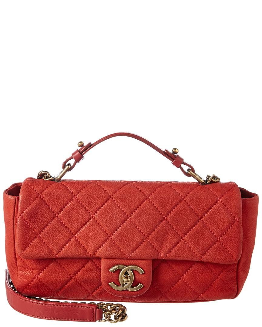 22199898da93e7 Chanel Red Quilted Soft Caviar Leather Small Chic Flap Bag in Red ...
