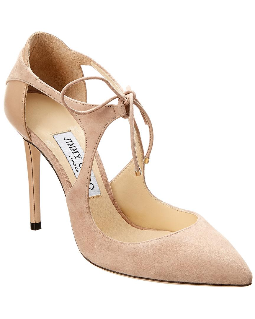 505455f82b6 Lyst - Jimmy Choo Vanessa 100 Suede   Leather Pump in Pink