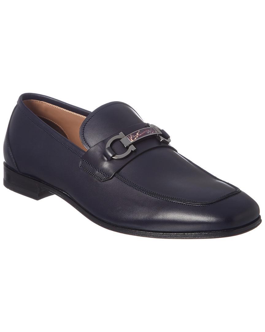 549543ac984 Lyst - Ferragamo Gancini Leather Moccasin in Blue for Men