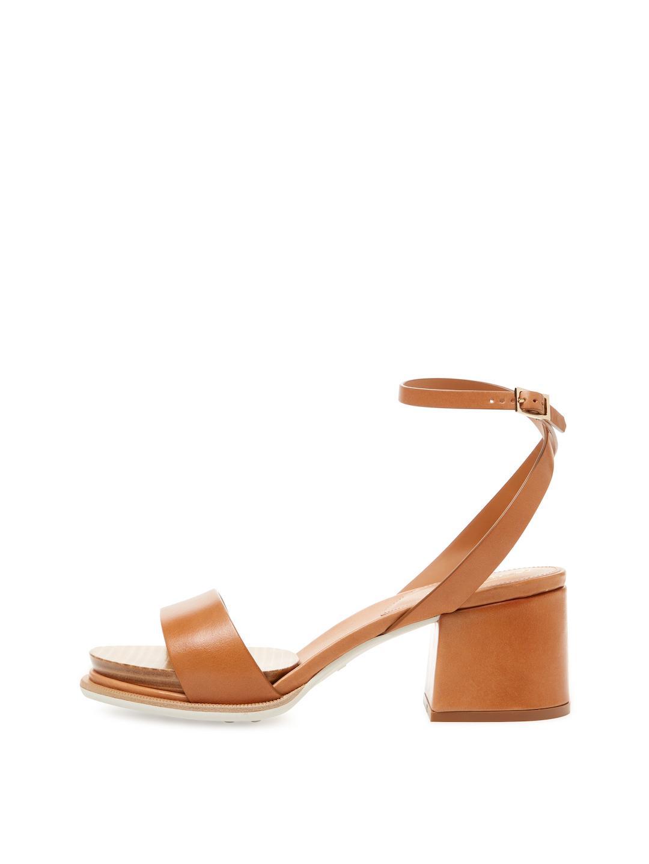 09baa0322c5b6 Lyst - Tod s Leather Block Heel Sandal in Brown