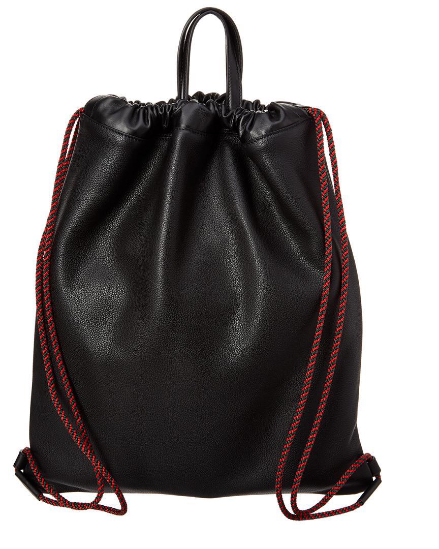Gucci Black Leather Drawstring Backpack Bag in Black for Men - Save 13% -  Lyst 66222806a4417