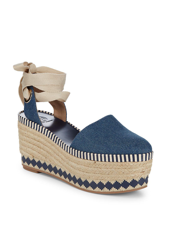 f41ab915f2db Lyst - Tory Burch Dandy Denim Espadrille Sandals in Blue