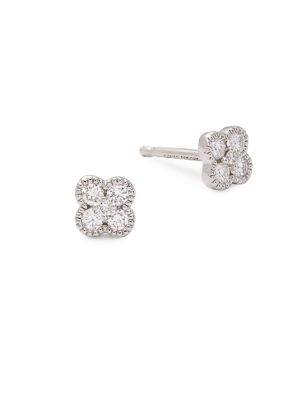 D for Diamond Clover Stud Earrings E9bxV0R1