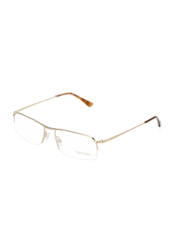 Tom ford Semi Rimless Rectangular Optical Frame in Metallic for Men ...