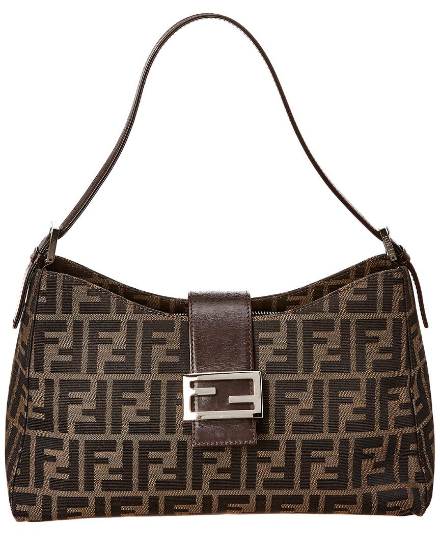 26c8634b3a Lyst - Fendi Brown Zucca Canvas Shoulder Bag in Brown