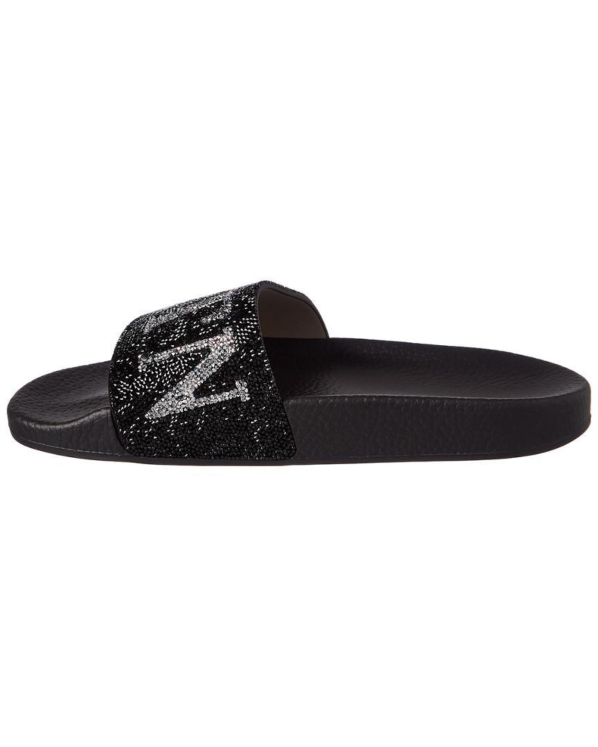 1853a3974c8 Lyst - Valentino Swarovski Crystal Slide Sandal in Black - Save 45%