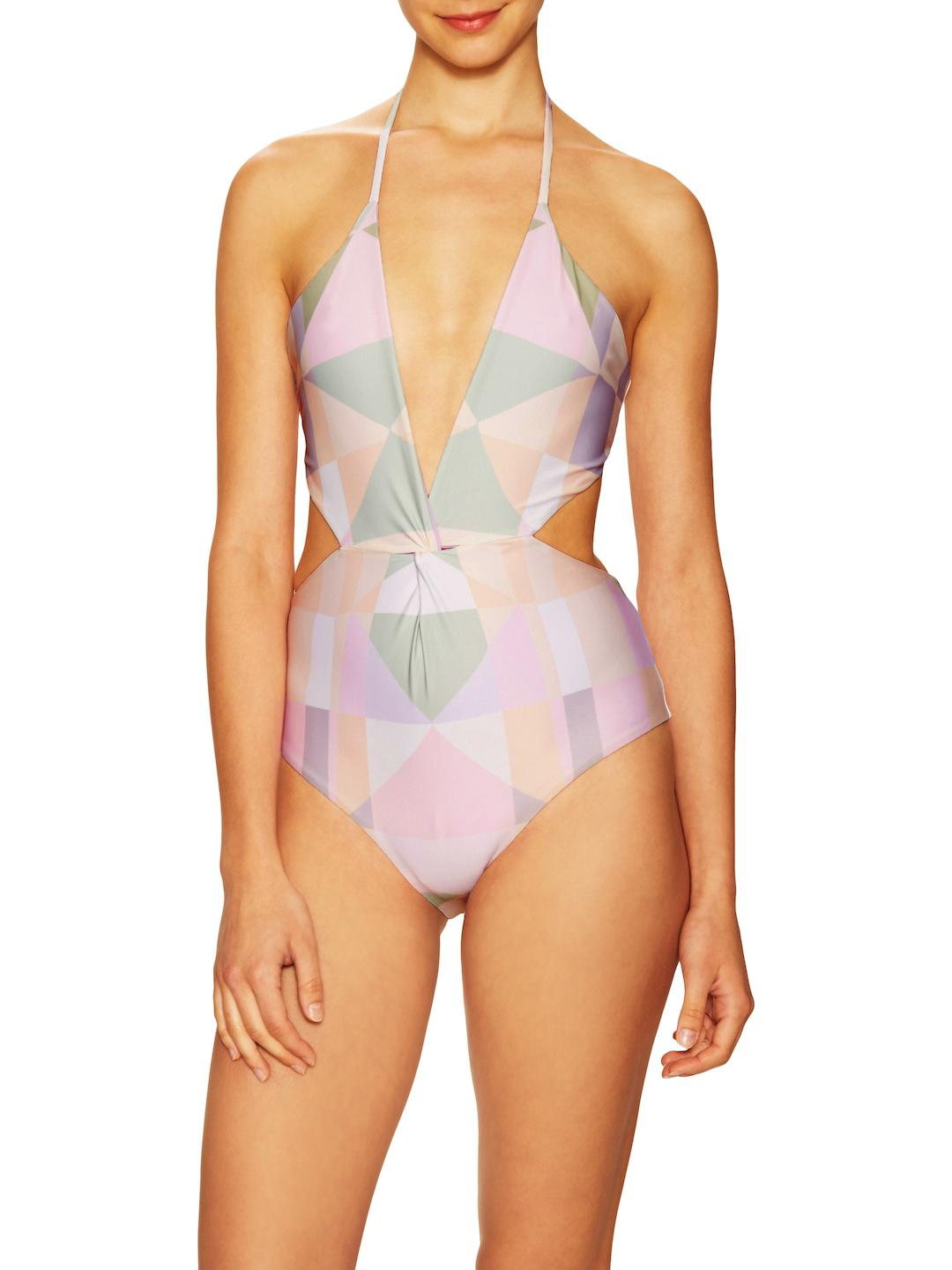 8f402a7d217 Lyst - Mara Hoffman Diamond Twist One Piece Swimsuit in Pink
