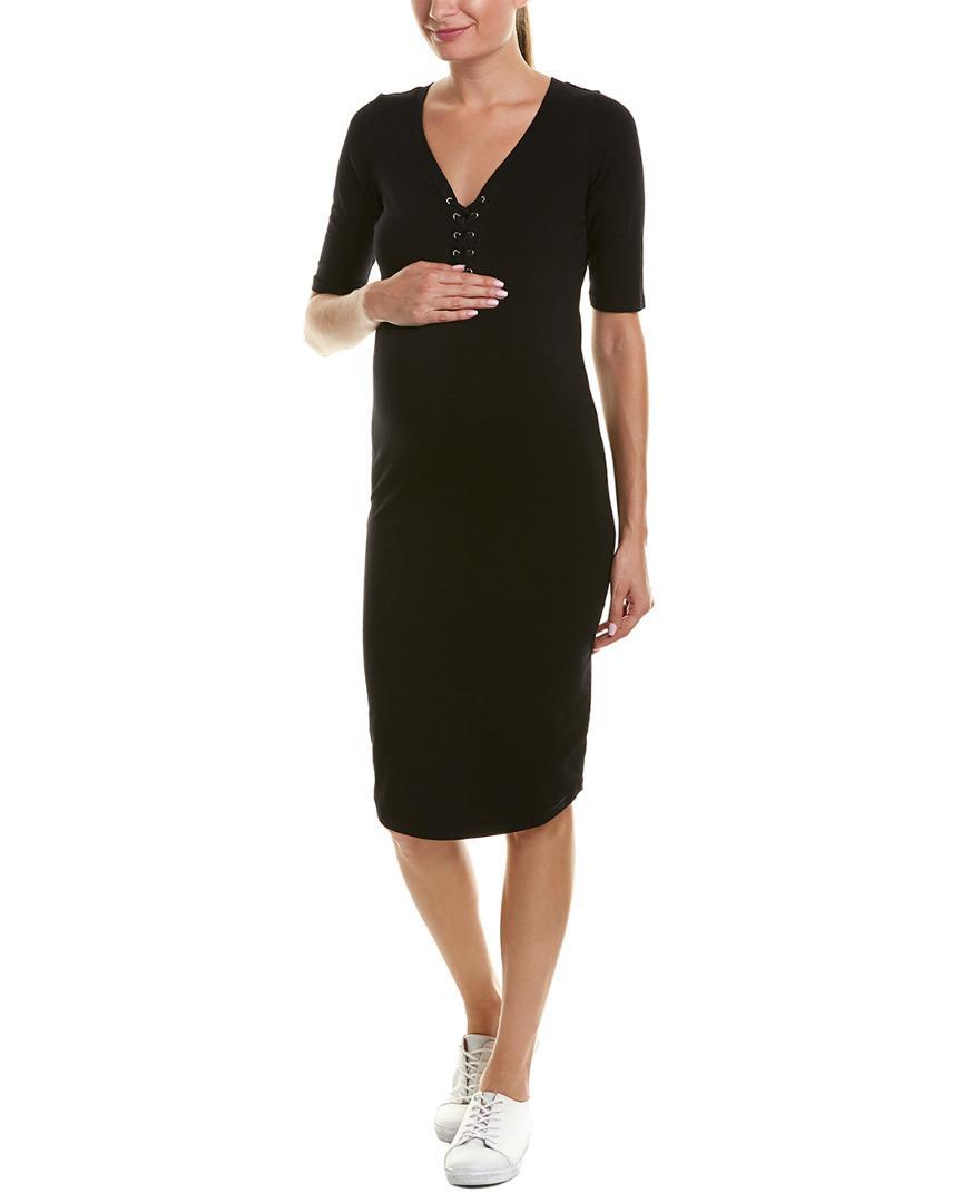 f4a774b2b4a15 Lyst - Monrow Maternity Lace-up Shift Dress in Black